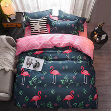 Bedding Set luxury Flamingo red 3/4pcs Family Set Sheet Duvet Cover Pillowcase Boys Room flat sheet, No filler 2019 bed set(China)