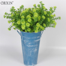 6 Branches simulation grass artificial plastic fake green plant Christmas tree ornament grass wedding decoration for home party(China)