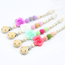 Pacifier holder with name Pacifier Clip Wooden Beads newborn Baby Teether Mint Pink Untreated unique Babyshower gift(China)