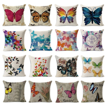Homing Cute Butterfly Printed Cushion Cover Pattern Decorative Pillow Case Linen Square Throw Pillow Cover Home Textile(China)
