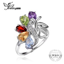 JewelryPalace 2.5ct Genuine Amethyst Garnet Peridot Topaz Ring Rock Quartz Solid 925 Sterling Silver Wedding Jewelry For Women