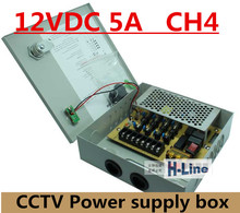 DC12V 5A Fused 4 Channel CCTV power supply switch box for surveillance camera Security output 60W, 4 port CE, LVD Approved