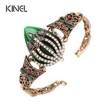 Buy Kinel Vintage Bracelet Women Color Ancient Gold Mosaic White Crystal Turkish Jewelry Christmas Gift for $2.92 in AliExpress store