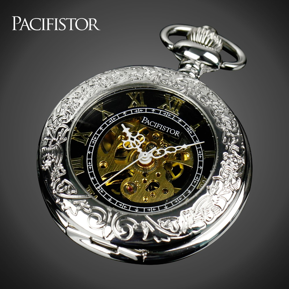Pacifistor Mens Mechanical Skeleton Pocket Watches Vintage Reloj Bolsillo Necklace Watches Silver Chain Pendant Fob Watches<br><br>Aliexpress