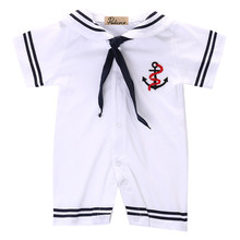 2017 Baby Rompers Newborn Baby Clothes White Sailor Costume Summer Baby Rompers Short Sleeve Jumpsuit Baby Boy Clothing