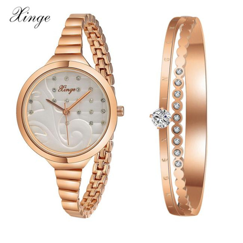 Xinge Women Luxury Top Rose Gold Silver Women Fashion Classic Watch Crystal Rhinestone Bangle Watch Bracelet Set 189 for Ladies<br>