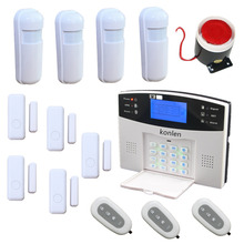 LCD Voice Home Alarm GSM Security Kit  Wireless SMS Alarma System Alarme Residencial with Mini PIR Detector Door Window Sensor