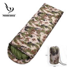 Camouflage Camping sleeping bag 3 season Cotton filling envelope style army hooded Military outdoor Travel sleeping bags(China)
