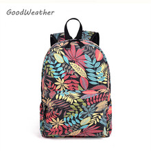 Designer big pupil tropical print backpacks for teenage high quality large capacity youth canvas backpack girl school bag 2color