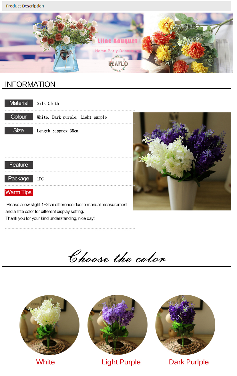 2018 Plastic 5 Heads Hyacinth Plant Silk Flower Wedding Flower