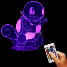 Free Shipping 1Piece Anime Cartoon Pokemon Go Action Figure Squirtle 3D Desk Night Light Handmade Wood Mood LED Table Light