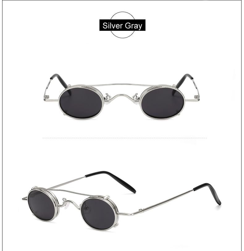 Ralferty Vintage Small Clip On Sunglasses Women Men Retro Mini Steampunk Goggles Punk Sun Glasses UV400 Eyewear Accessories B012 9