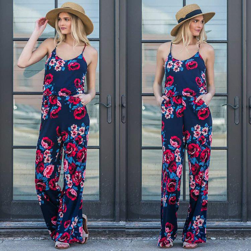 Spaghetti Strap Jumpsuit Women 2018 Summer Long Pants Floral Print Rompers Beach Casual Jumpsuits Sleeveless Sashes Playsuits 48
