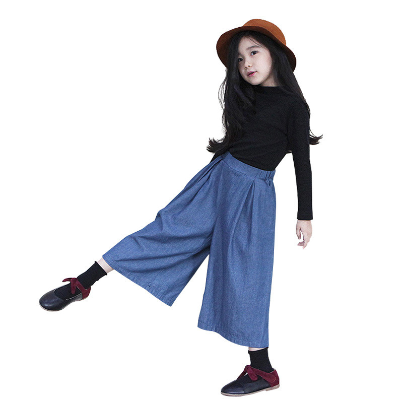 Childrens Garment 2017 Autumn Children Pullover T Broad Leg Jeans Girl Two Pieces Suit Kids Clothing Sets<br>