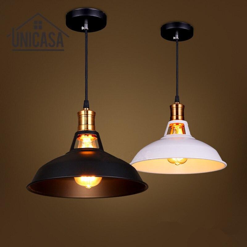 Black/White Shade Iron Pendant Lights Mini Vintage Lighting Fixtures Kitchen Island Shop Hotel Bar Antique Pendant Ceiling Lamp<br>
