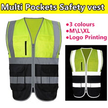 SFvest Construction High visibility two tone fluorescent yellow black safety reflective vest  logo printing free shipping