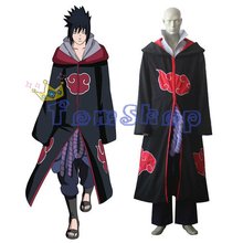 Japanese Anime Naruto Shippuuden Team Taka Hawk Uchiha Sasuke Deluxe Cosplay Costume Combo Set(Cloak+Tops+Pants+Apron+Belt)