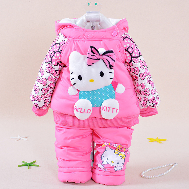 Baby winter Set 2017 Winter Girl Cartoon Kitty Sets Super warm Warm Coat+Pants (Two Piece Sets) Cotton-padded clothes<br><br>Aliexpress