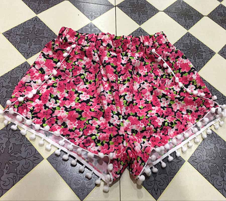 17 Summer Floral Pom Pom Ball Shorts Women Beach Tassel Bohemian National Wind Print Loose Women's Short Feminino Plus Size XL 11