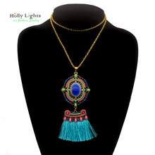 Female long chain necklaces&pendants blue gothic fringe tassel bohemian collar for women ethnic tribal jewelery accessories new