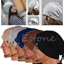 Men Ring Lacing Beanie Baggy Unisex Hip-Hop Skull Slouchy Oversize Rope Cap Hat