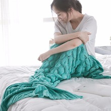 Mermaid Tail Throws Sofa Decor Air Conditioning Blanket Crochet Knitted Handmade Throw Bed Wrap Super Soft Braid Christmas Gifts