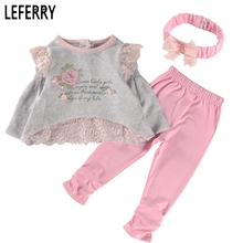 2017 New Spring Baby Girl Clothes Set Cotton Lace Little Girl Clothing Sets Newborn Infant Clothing Baby Suits Birthday Party(China)