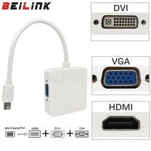 3 in 1 Mini DP DisplayPort to HDMI/DVI/VGA Display Port Cable Adapter for Apple MacBook Pro(China)