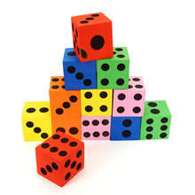 New 12Pcs/Set 3.7cm EVA Soft Colorful Foam Large Dices Party Bag Filler Bright Colors Black Solid Dots Entertainment Board Games(China)