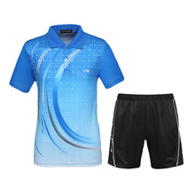 Men Tennis Shirts Sets 2017 New Design Sport Suit Shorts With Jerseys Breathable Quick Dry Badminton Table Tennis Sportswear(Hong Kong)