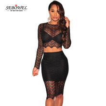 SEBOWEL Autumn Sexy Two Pieces Set Black Lace Long Sleeves Party Drees Women Mesh Insert Short Dress Vestidos De Fiesta Female