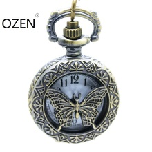 (3074)Victorian Style Vintage Bronze butterfly Pocket Watch Necklace, small size 12 pcs/lot Halloween Christmas gift(China)