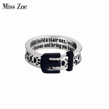 Miss Zoe Paw Print Collar Remembrance Ring Belt Animal Pet Ring Dog paw footprints Jewelry Ring For Dog parent Free Shipping