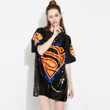 Fashion Black Hip Hop Oversized Loose Sequin Dress Short Sleeve Casual Round Collar Dancewear Paillette Printed Shirt Dress