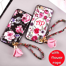 Fashion Colorful Flower Printed with Rope Phone Case for OPPO A57 / A39 Soft Tpu Back Cover for OPPO A57 / A39 Couque Fundas(China)