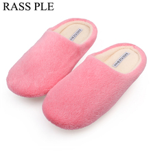 RASS PLE Soft Plush Cotton Cute Slippers Shoes Non-Slip Floor ,Indoor House ,Home Furry Slippers Women Shoes For Bedroom(China)