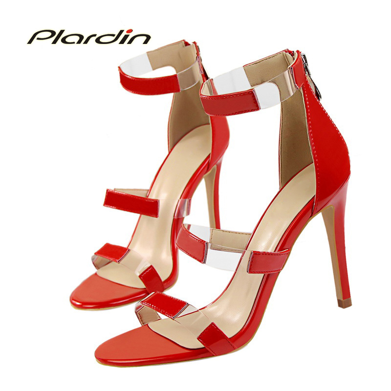 plardin 2018 Shoes Woman Sexy Concise Women Party Wedding cutouts with one word Zipper Ankle Strap High Heel Pumps ladies shoes<br>