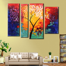 4pcs/set Oil Painting Hand Canvas Painting Modern Abstract Life Tree Art Wall Pictures for Living Room Cuadros Decoracion Decal