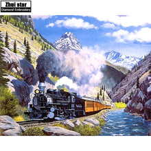 5D DIY Diamond embroidery Mountain train landscape full drill diamond painting Cross Stitch Rhinestone mosaic home decoration