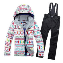 Snow Suit Sets lady geometric shape Women snowboard skiing clothing windproof waterproof Warm Winter Costume Jackets + Pants