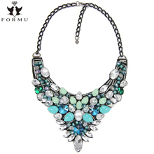 FORMU Flowers Necklace Women Multicolour Acrylic Inlaid Big Brand Pendant Black Gun Chain Exaggerated Statement Necklace NK854