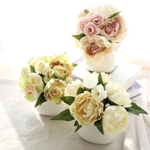 Traditional Chinese 5Colors 1Bunch  Artificial Fake Flowers Peony Bouquet Floral Wedding Home Garden Office Coffee house Decor