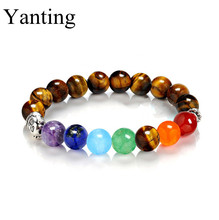 Yanting Buddha head bracelets for women natural red onyx tiger eye stone women chakra bracelet rock punk pulseira feminina 0889