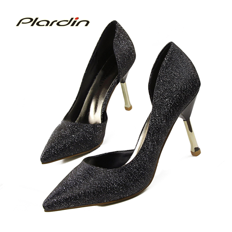 plardin Summer Shoes Woman Pointed Toe Sexy Women Party Nightclub Shallow Mouth Cut Out Two Piece Thin High Metel Heel Pumps<br><br>Aliexpress