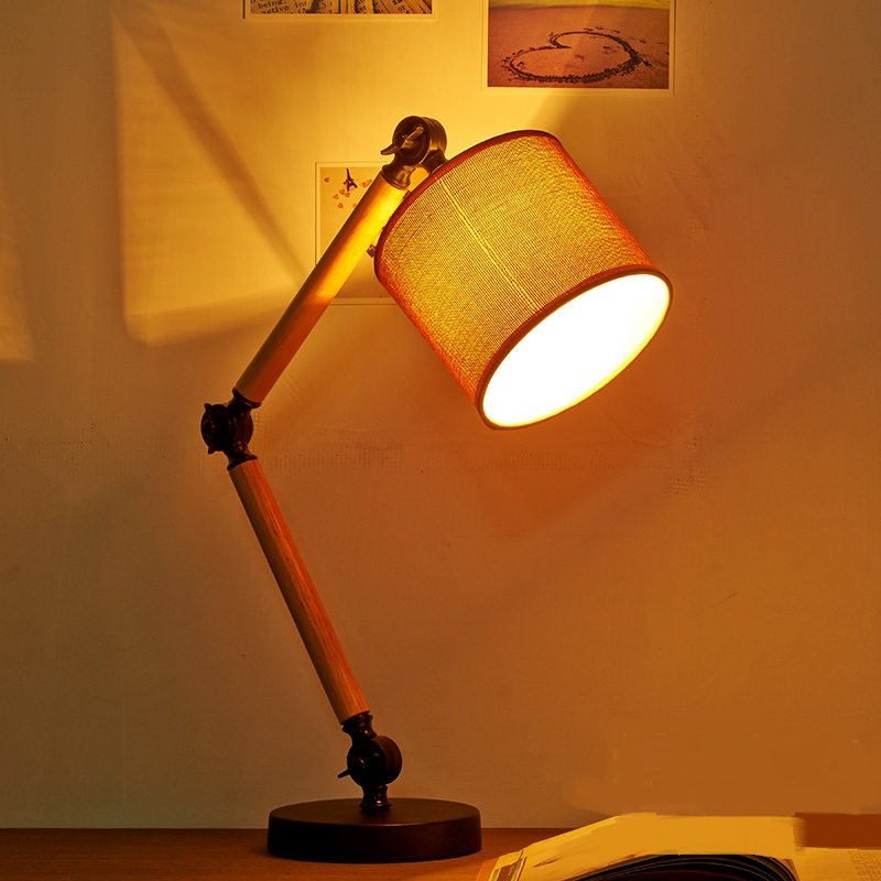 The NEW loft study lamps creative personality table lamp reading the original American linen wooden bedroom bedside lamp<br><br>Aliexpress