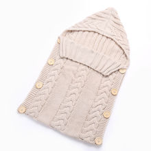 New Warm Newborn Baby Sleeping Bags Solid Knitted Infant Swaddle Wrap Solid Adorable Blanket Kids Baby Boys Girls Sleeping Bag(China)