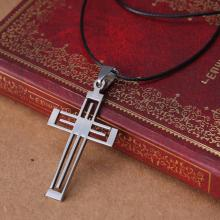 Men's Jewelry Silver Cross Pendants Necklaces For Men 316L Stainless Steel Necklaces Leather Chain Men Jewelry
