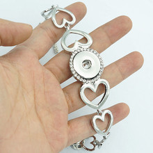 New SG0164 Fashion silver hollow hearts snap Bracelet bangle 22CM fit 18MM snap button jewelry wholesale(China)