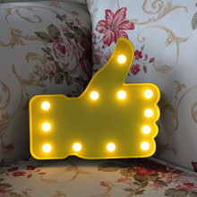 LED Thumb Lamp 12 Leds Letter Night Light Kid room's Finger Table Lamp Kid Gifts Christmas Garden Festival Decor Battery Power