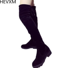 Buy HEVXM NEW Women Shoes Knee Thigh High Black Boots Female Motorcycle Flats Long Boots Low Heel Suede Leather boots for $13.60 in AliExpress store